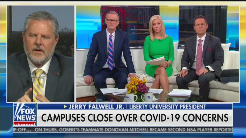 Fox & Friends Hosts Don't Push Back After Jerry Falwell Jr. Suggests North Korea Developed Coronavirus