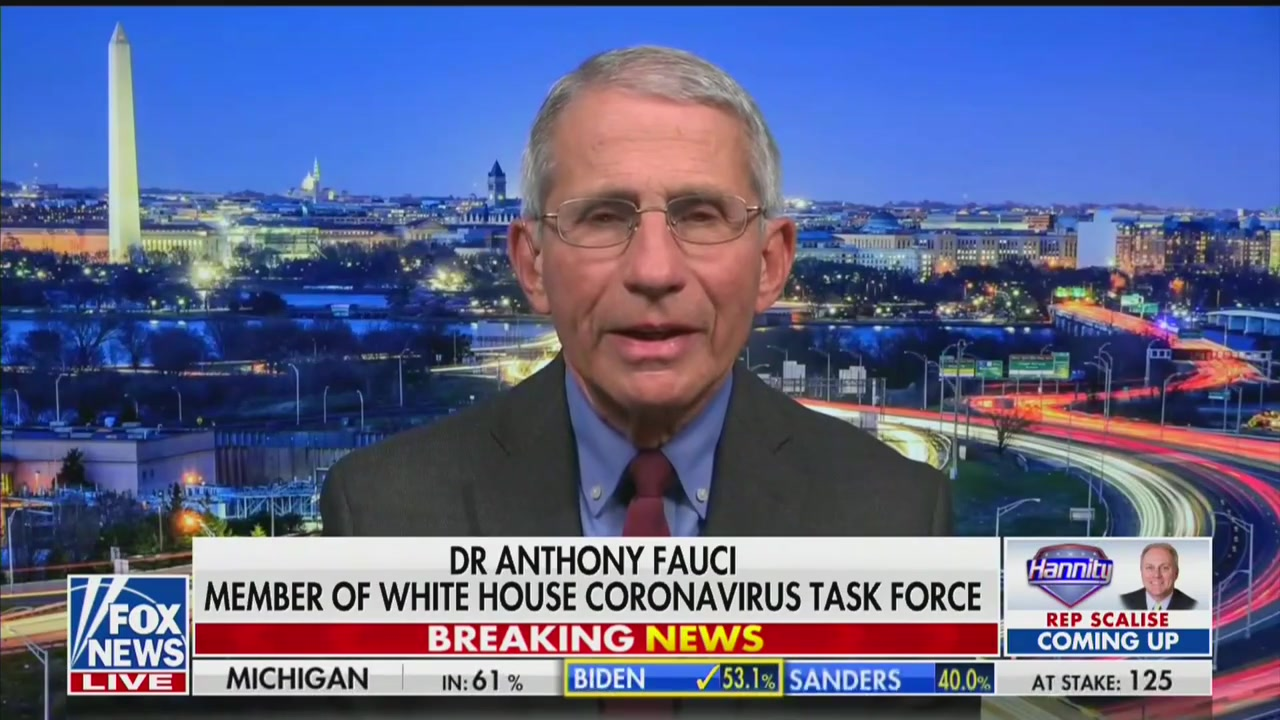 Dr. Anthony Fauci Tells Hannity That Coronavirus Is Far More 'Lethal' Than the Seasonal Flu