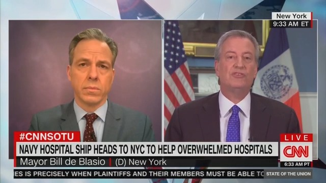 Tapper Takes Bill de Blasio to Task Over Delayed COVID-19 Response: Aren't You Partially to Blame for Virus' Rapid Spread?