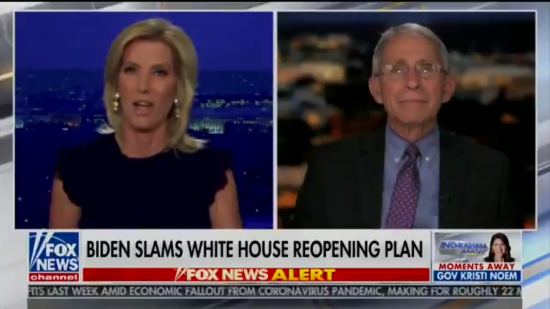 Watch: Dr. Fauci Explains to Laura Ingraham Why Her HIV/Coronavirus Comparison Is Wrong