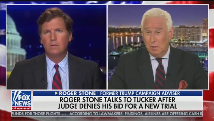 Roger Stone, Released from Gag Order, Tells Tucker Carlson His Imprisonment Is 'Essentially a Death Sentence'