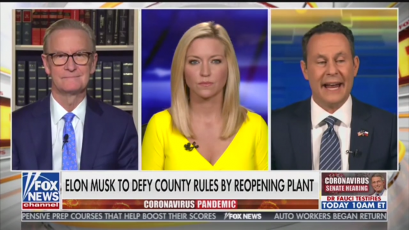 "Fox's Brian Kilmeade on Elon Musk Reopening Factory: ""Mr. Tesla Is Upset"""