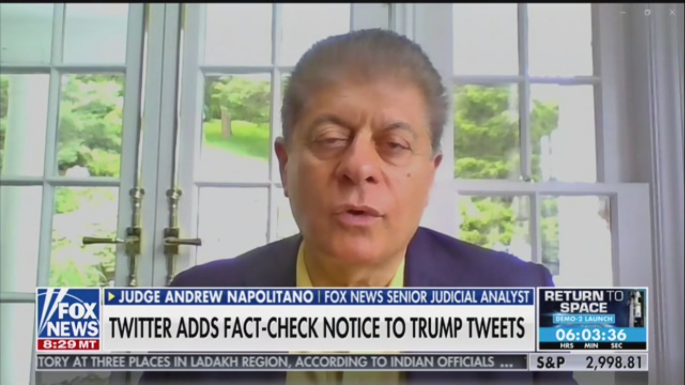 Fox's Judge Nap on Trump's Threats: The First Amendment 'Does Not Regulate Twitter'