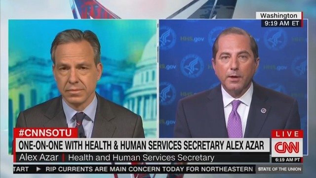 HHS Secretary Alex Azar Punts When Jake Tapper Presses Him on Eric Trump's Conspiracy Mongering