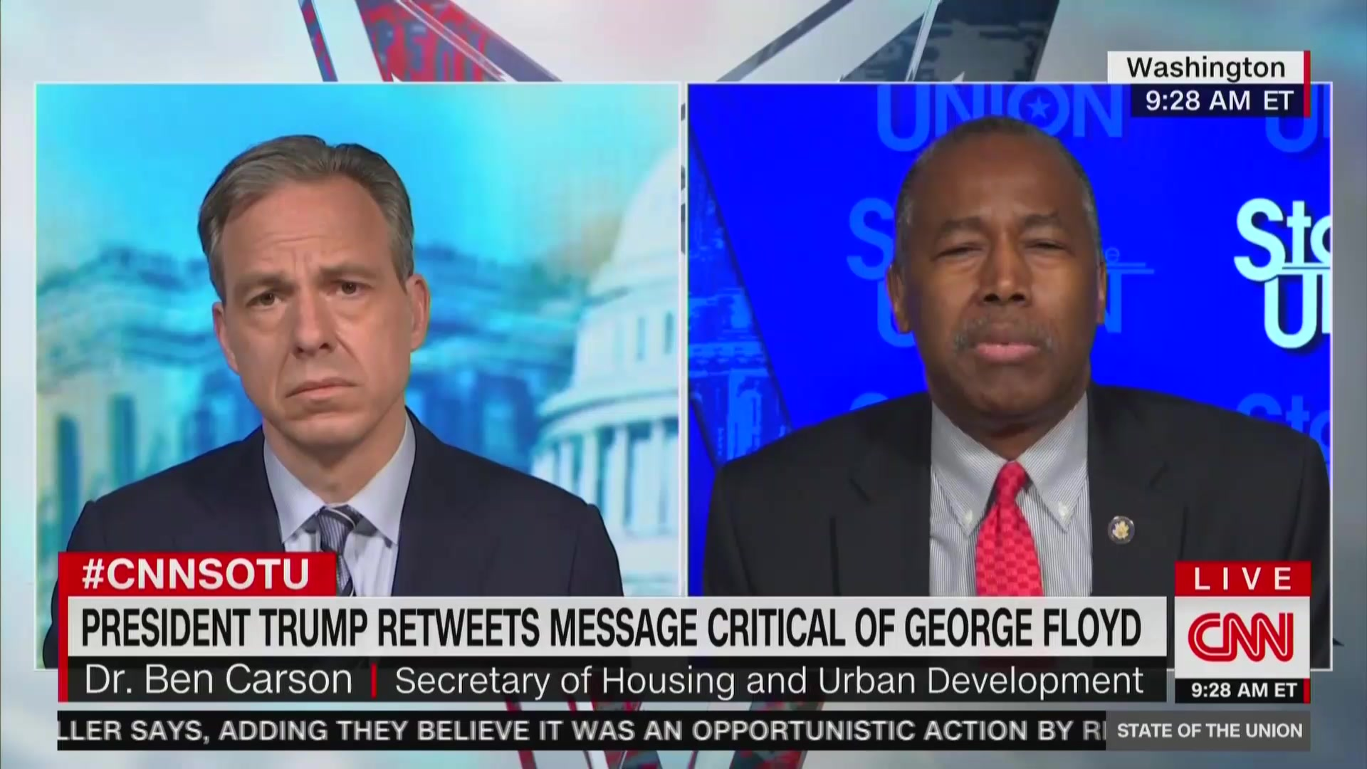 Jake Tapper Confronts Ben Carson on Trump Sharing Clip of Candace Owens Smearing George Floyd