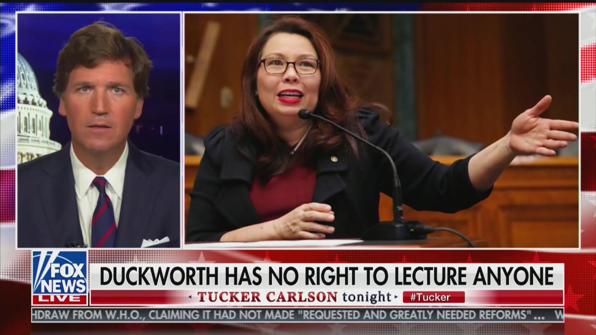 Tucker Carlson Once Again Attacks Tammy Duckworth, Claims She's a 'Coward' and 'Fraud'
