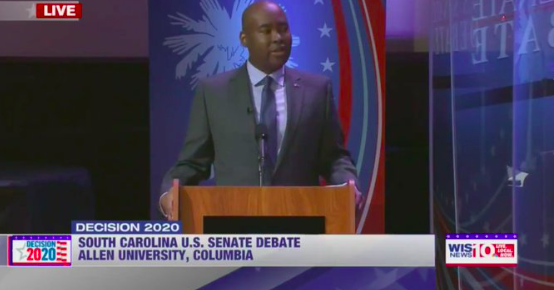 Jaime Harrison Puts Up Plexiglass Barrier During Debate with Lindsey Graham
